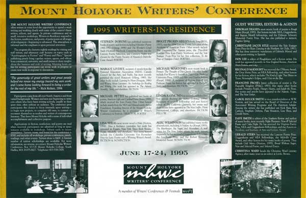 Mount Holyoke Writers' Conference Brochure - Inside