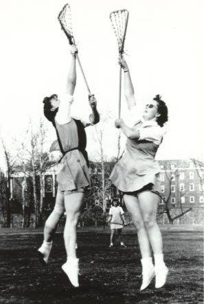 Front of Smith College Athletic Postcard 1940 Lacrosse Players Face-off.