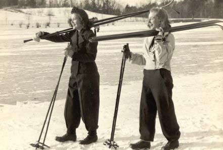 Front of Smith College Athletic Postcard 1940 Student Skiers. Photographer Fred G. Chase.