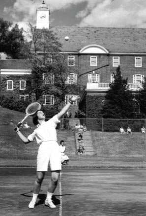 Front of Smith College Athletic Postcard 1956 Field Day Tennis Match. Fannie Iselin '57 Serving. Photographer D.I. Crossley.