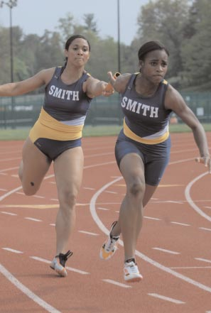 Front of Smith College Athletic Postcard Claire Edwards '09 Passes the Baton to Jasmine Liverpool '10 2007 Smith Track and Field.